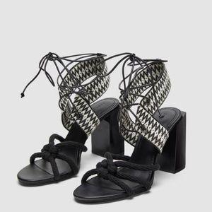 Zara Women Tied Block Heel Sandals 41 EU / 10 US